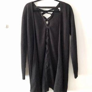 Long Black Knit Cardigan